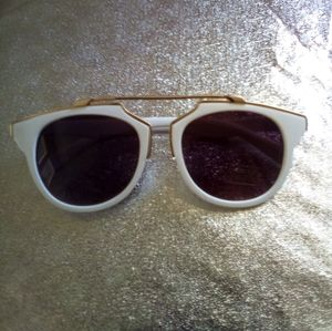 White Gold Purple Lens Sunglasses